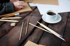 Coffee and paintbrushes Royalty Free Stock Image