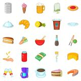 Coffee palace icons set, cartoon style Royalty Free Stock Images