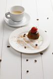 Coffee and panna cotta Stock Image