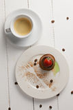 Coffee and panna cotta overhead Stock Photo
