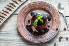 Coffee panna cotta under chocolate topping Royalty Free Stock Photo