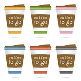 Coffee in papaer glass icon illustration in colorful Stock Photos