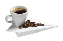 Coffee on a paper airplane Stock Images