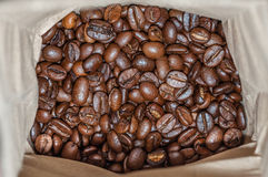 Coffee. Paper bag with coffee beans Royalty Free Stock Photography
