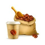 Coffee paper cup and bag Stock Image