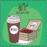 Coffee in paper cup and berry pie in carton box Royalty Free Stock Photo