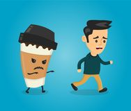 Coffee paper cup runs over man guy. Stock Image