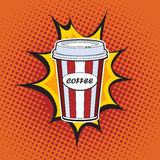 Coffee paper cup. Straw fast food pop art retro style. Restaurants and entertainment. Sweet refreshing in the heat of the drink. Childhood and joy. Advertising Stock Images