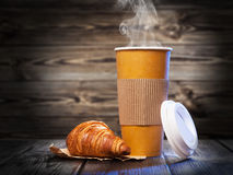 Coffee in a paper cup. Takeaway coffee in a paper cup Royalty Free Stock Photography