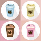 Coffee paper cups set icon template. Pink quartz and serenity Vector template. S Royalty Free Stock Images