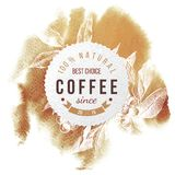 Coffee paper emblem. Over watercolor background with hand drawn coffee branch Stock Photo