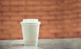 Coffee paper mockup with background. Coffee white paper mockup with background Royalty Free Stock Images