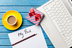 Coffee and paper with My Book inscription near notebook Royalty Free Stock Photos