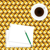 Coffee and paper note on seamless yellow wooden background Royalty Free Stock Photography