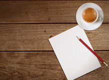 Coffee and paper pencil. Coffee and pencil give creative thinking Royalty Free Stock Photos