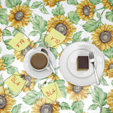 Coffee party, cup of coffee and slips of paper written with Royalty Free Stock Images