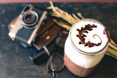 Coffee with Passport and film cameras Royalty Free Stock Photography