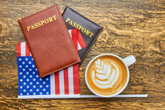 Coffee, passports and American flag. Royalty Free Stock Photo