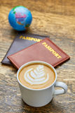 Coffee and passports. Royalty Free Stock Photo