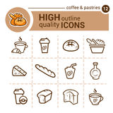 Coffee and pastries icons Royalty Free Stock Images