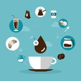 Coffee and pastry icons Royalty Free Stock Images