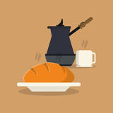 Coffee and pastry image. Flat design coffee press and pastry image vector illustration Stock Photo