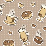 Coffee pattern. Seamless pattern with coffee beans, cups and donuts Stock Photos
