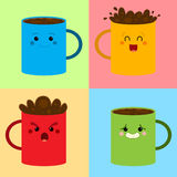 Coffee pattern. Set of colored coffee mugs in different expressions Stock Photography