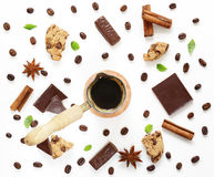 Coffee pattern with dark chocolate, cinnamon, anise Stock Images