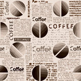 Coffee pattern in newspaper style. Royalty Free Stock Photo