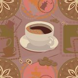 Coffee pattern in soft colors royalty free illustration