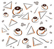 Coffee pattern on white Stock Photography
