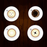 Coffee Pattern With Wood Background Royalty Free Stock Images