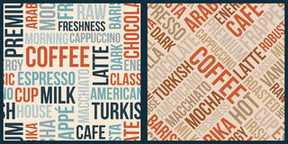 Coffee pattern with words in retro style Stock Image