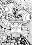 Coffee patterned background for adult coloring book. Hand drawn Stock Photo