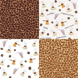 Coffee patterns. Four kind of seamless coffee patterns Royalty Free Stock Photos