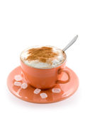 Coffee in a peach cup Stock Photography