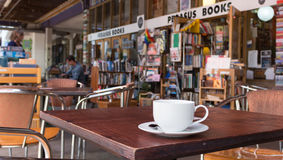Coffee at Pegasus Book Store. Wellington, New Zealand - February 10, 2017: A cup of coffee outside at the Pegasus Book Store Stock Photos