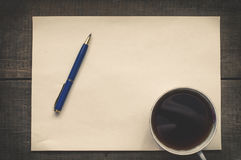 Coffee, pen and blank paper Royalty Free Stock Photos
