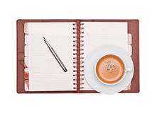 Coffee, pen and organizer Royalty Free Stock Photos