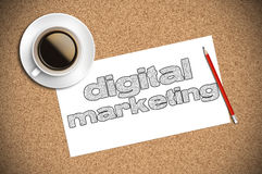 Coffee and pencil sketch digital marketing on paper Stock Photography