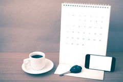 Coffee,phone,car key and calendar Stock Image