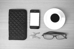 Coffee,phone,key,eyeglasses and wallet Stock Photography