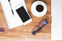 Coffee, phone and other items Stock Photo