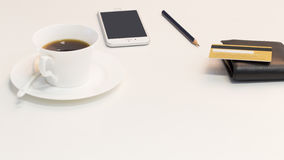 Coffee, phone, wallet and credit card Royalty Free Stock Images