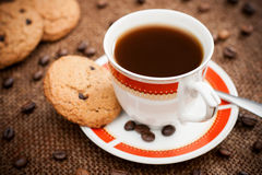 Coffee. Photo of a cup of coffee with cookies stock photos