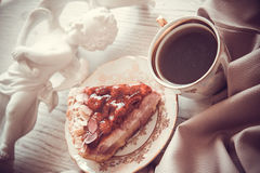 Coffee and pie on drapery. Raspberry quiche with almonds,delicious dessert Stock Photos