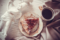 Coffee and pie on drapery. Raspberry quiche with almonds,delicious dessert Royalty Free Stock Photos