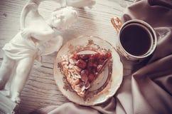 Coffee and pie on drapery Royalty Free Stock Photos