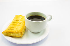 Coffee and pie. This photo are coffee and desserts pie on a white background Royalty Free Stock Photo